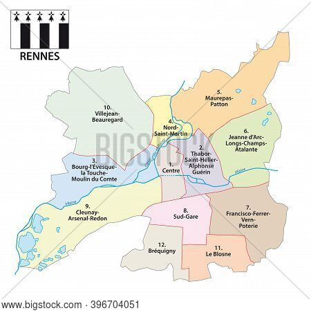 Administrative Vector Map Of Breton Capital Rennes, France