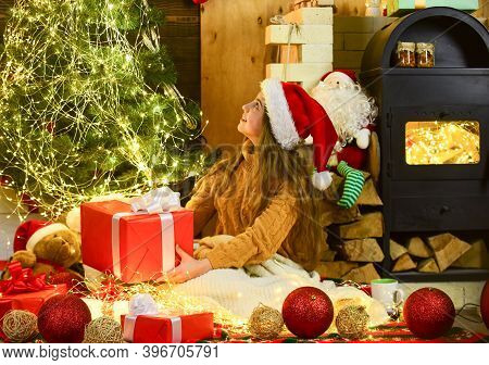 Led Lights Concept. Little Girl Relax Near Christmas Tree Decorated With Lights. Safety Measures. Me