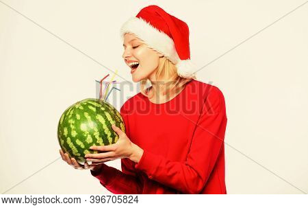 Ways To Detox After Christmas Day. Girl Wear Santa Hat Drink Watermelon Cocktail Straw White Backgro