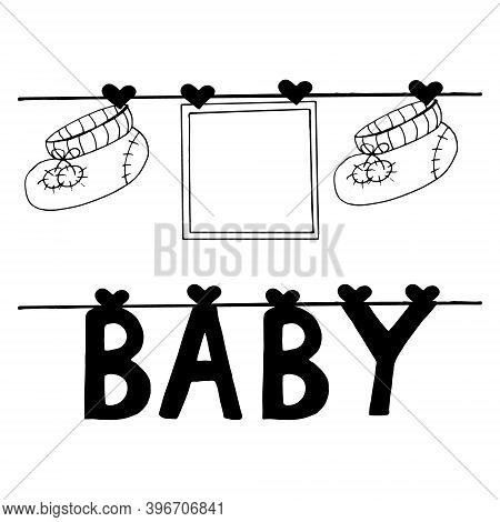 Frame, Booties And Letters Baby Hang On Clothespins On A Thread Set For Design Banner, Sticker, Deco