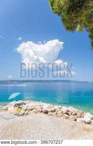 Amazing Croatian Clean Beaches With Blue Sky In Brela, Dalmatia, Croatia
