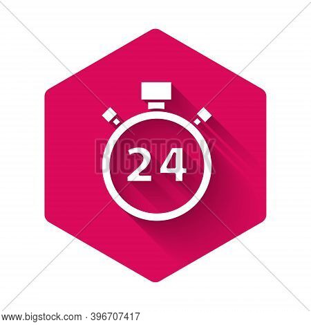 White Stopwatch 24 Hours Icon Isolated With Long Shadow. All Day Cyclic Icon. 24 Hours Service Symbo