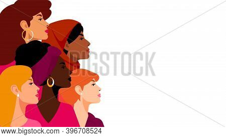 Multi-ethnic Women. A Group Of Beautiful Women With Different Beauty, Hair And Skin Color. The Conce
