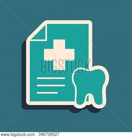 Green Clipboard With Dental Card Or Patient Medical Records Icon Isolated On Green Background. Denta