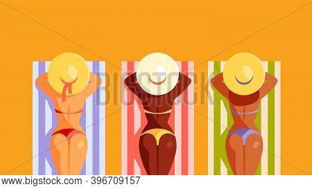 Summer Time. Three Women Sunbathing. Sunbathing On The Beach. Modern Vector Illustration With Copy S