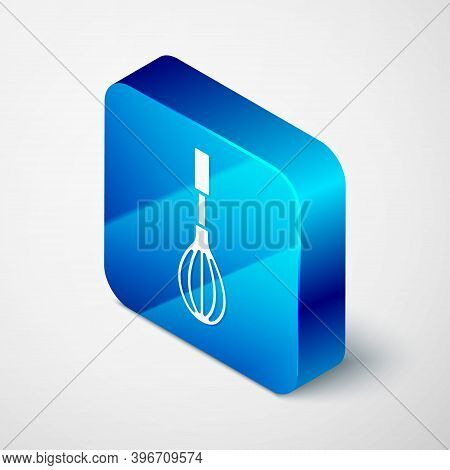 Isometric Kitchen Whisk Icon Isolated On Grey Background. Cooking Utensil, Egg Beater. Cutlery Sign.