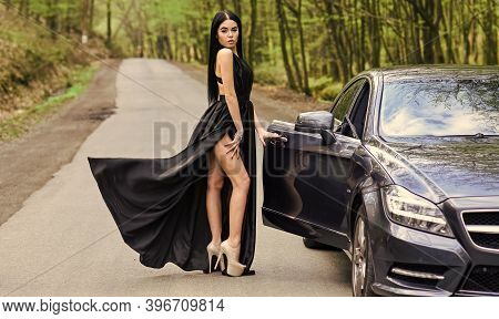 Traveling And Journey. Leisure And Pleasure Travel. Sexy Style Of Trendy Woman. Travel And Vacation.