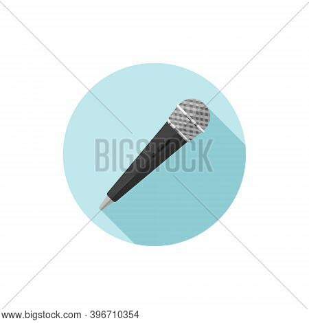 Vector Flat Design Handheld Microphone. Vector Illustration