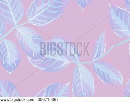 Painted English Rose Leaf Patterns Collection. Romantic Botanical Vector Background. Summer Textile