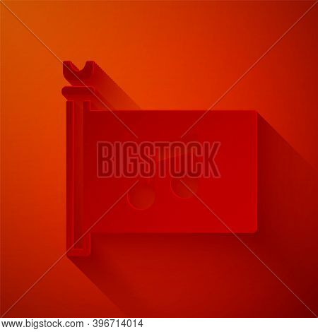Paper Cut Music Festival, Access, Flag, Music Note Icon Isolated On Red Background. Paper Art Style.