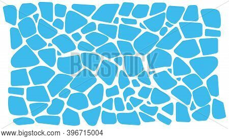 Abstract Blue Background. Imitation Of Caustic Water Or Floating Icebergs. Organic Fragments. Terraz