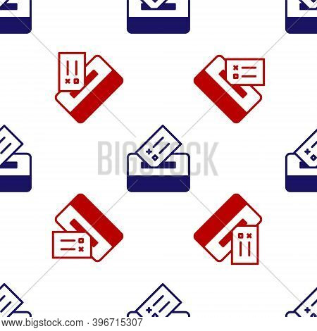 Blue And Red Vote Box Or Ballot Box With Envelope Icon Isolated Seamless Pattern On White Background
