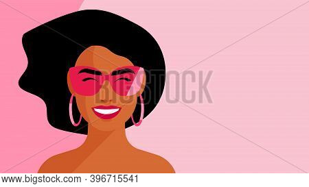 Beautiful Sexy Woman In The Eyeglasses. White Smile. Close-up Portrait Of A Pretty Girl. Concept Of