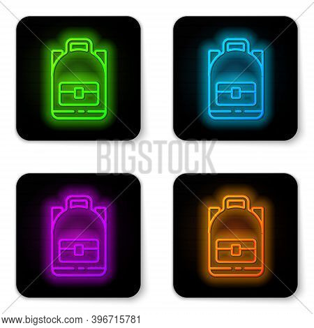 Glowing Neon Line Hiking Backpack Icon Isolated On White Background. Camping And Mountain Exploring