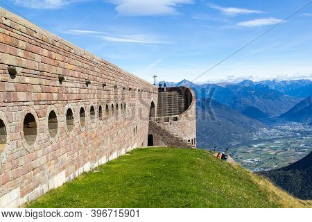 Tamaro, Switzerland - 03 October 218: Santa Maria Degli Angeli Chapel On The Monte Tamaro By The Swi
