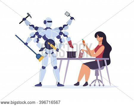 Woman House Wife Preparing Dish, Grating Carrot For Soup. Robot Performing Different Tasks Holding R