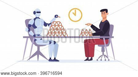 Man Versus Artificial Intelligence. Guy And Robot Making Card House. Automated Machine Performing Ta