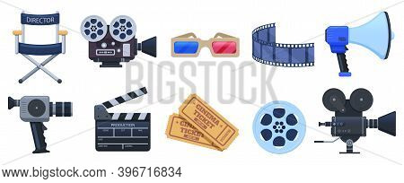 Cinema Symbols. Movie Theatre Or Cinematography Clapperboard, Camera And Movie Premiere Tickets. Fil
