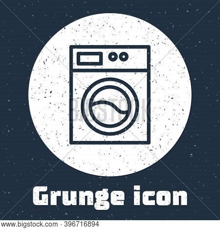 Grunge Line Washer Icon Isolated On Grey Background. Washing Machine Icon. Clothes Washer - Laundry
