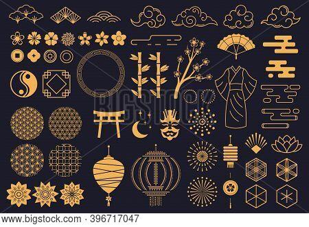 Japanese Symbols. Oriental Kabuki Theatre, Japanese Or Chinese Kimono Ornament, Lotus, Bamboo And La