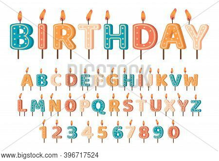 Candles Birthday Alphabet. Birthday Candles Abc Letters And Numbers, Cute Alphabet For Birthday Cake