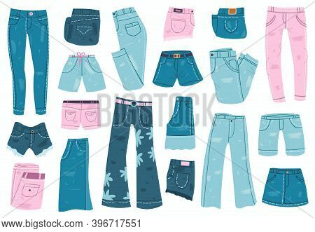 Jeans Clothes. Denim Trousers, Shorts And Skirt, Blue Jeans Unisex Apparel. Stylish Casual Denim Gar