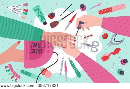 Nail Salon. Manicure Home Service Or Salon Procedure, Fingernail Care Tools And Gel Polish Equipment