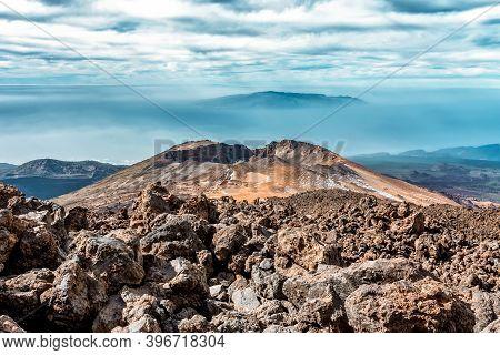 Pico Viejo Crater Near Teide Volcano In Canary Islands