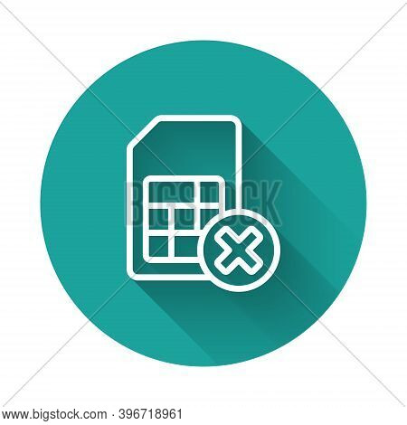 White Line Sim Card Rejected Icon Isolated With Long Shadow. Mobile Cellular Phone Sim Card Chip. Mo