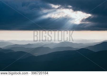 Carpathian Mountains Summer Sunset Landscape With Abstract Gradient Of Mountain Peaks And Dramatic S