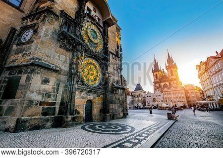 rague, Czech Republic - august 31, 2020:Tourists at the Old Town Square of Prague in the Czech Republic early morning