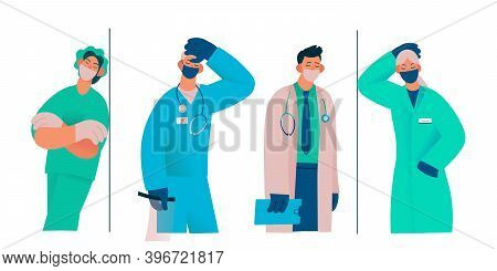 Tired Overworked Doctors, Nurses, Paramedics, Vector Flat Isolated Illustration. Exhausted Healthcar