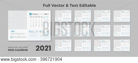2021 Desk Calendar With Blue Layout,blue Desk Calendar 2021,new Desk Calendar 2021 Template - 12 Mon