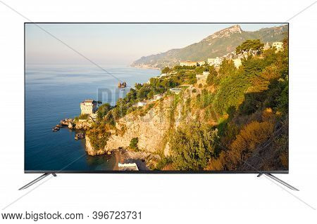 4k Modern Tv Set With Picture Of Summer Landscape On The Amalfi Coast In Italy Isolated On White Bac
