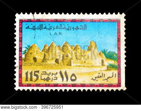 Libya - Circa 1977 : Cancelled Postage Stamp Printed By Libya, That Shows Mosque, Circa 1977.