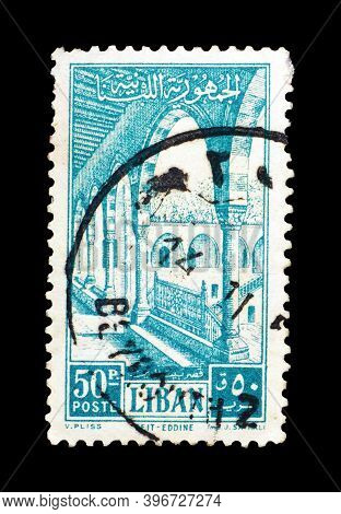 Lebanon - Circa 1954 : Cancelled Postage Stamp Printed By Lebanon, That Shows Gallery In Beit-et-din