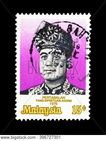 Malaysia - Circa 1976 : Cancelled Postage Stamp Printed By Malaysia, That Shows Portrait Of  Pertaba