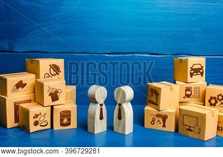 People Figures Conducting Business Negotiations And Boxes. Trade Goods And Services, Business Proces