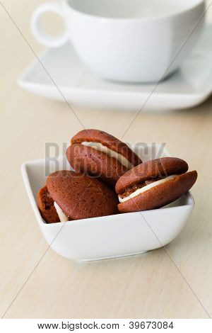 Chocolate Marron Cookies With Nuts And White Chocolate Cream