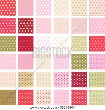 Seamless abstract retro pattern. Set of 36 polka dots textures.