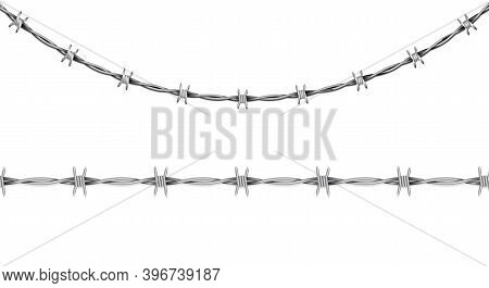 Disease, Conclusion Symbol, Sign. Barbed Wire Isolated On White Background. Vector Illustration