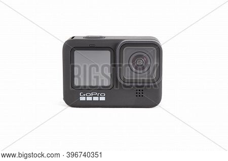 Moscow, Russia - November 20, 2020: New Flagship Action Camera Gopro Hero 9 Isolated
