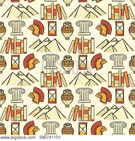 Seamless Pattern Of The School Subject Of History. Sand Background With Pyramids, Scrolls, Hourglass