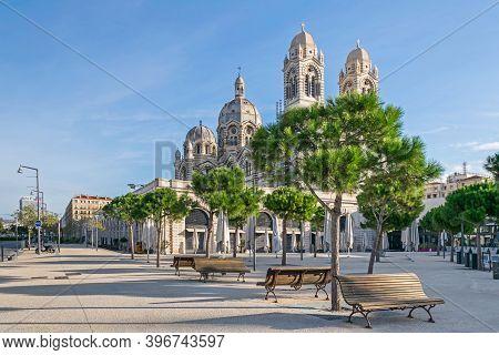 Marseille, France - November 1, 2019: Place De La Major Square With The Restaurants  Palais De La Ma