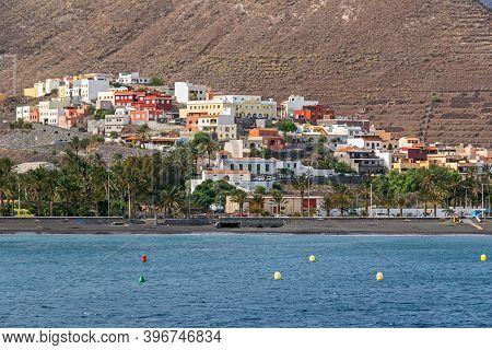 San Sebastian De La Gomera, Spain - November 13, 2019: City Beach, Boulevard Avenida De Los Descubri