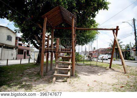 Mata De Sao Joao, Bahia, Brazil - October 24, 2020: Empty Children's Playground Due To The Covid-19