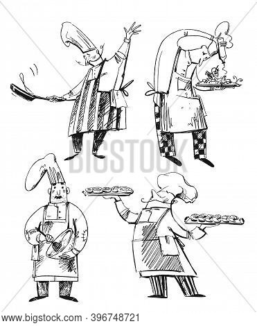 Set Of Chefs, Line Drawings Of Baker, Chef, Cooking. Professions Illustration