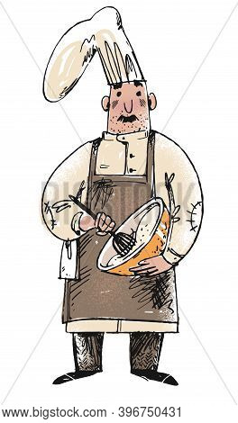Sketch Of A Baker Stirring Dough For Fresh Pasty. Cartoon Hand Drawn Vector Illustration