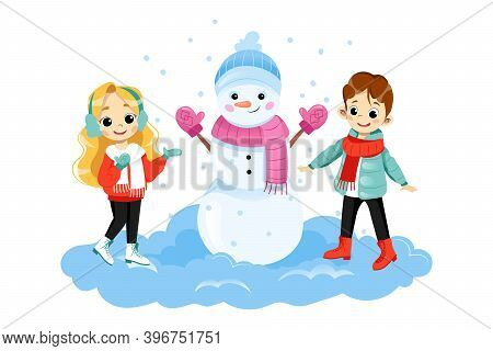 Two Children Characters Standing Near Big Snowman Smiling. Vector Illustration On White Background I