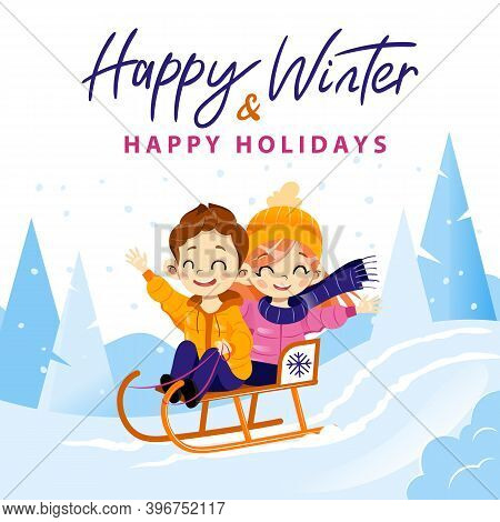 Happy Winter And Holidays Colourful Writing On Winter Forest Background. Vector Illustration In Cart